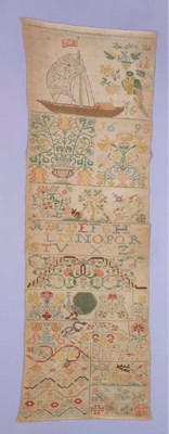 A band sampler, with initials