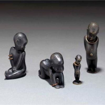 Four Hagenauer patinated bronz