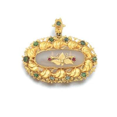 An antique gold, chalcedony an