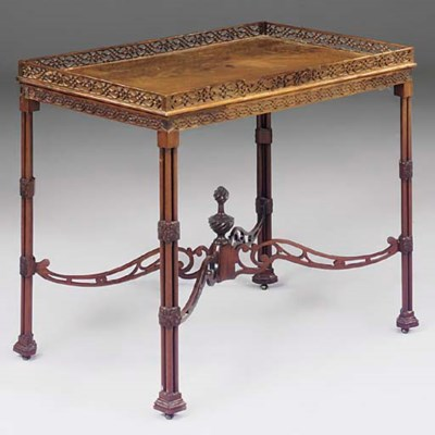 A MAHOGANY SILVER TABLE