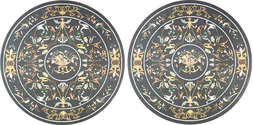 A pair of pietra dura marble t