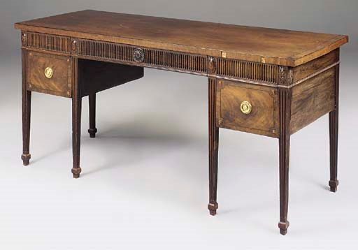 A GEORGE III MAHOGANY AND EBON