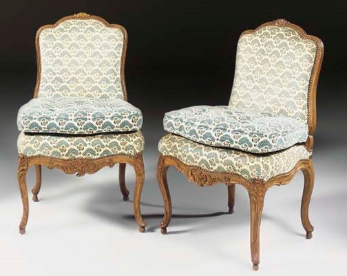 A PAIR OF LOUIS XV WALNUT SIDE
