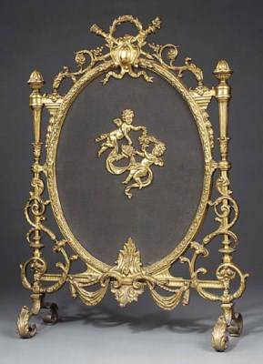 A French gilt bronze and mesh