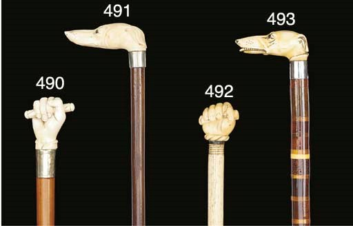 An ivory handled walking stick