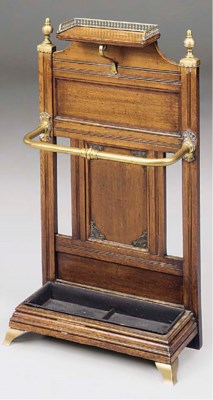 A VICTORIAN BRASS MOUNTED OAK
