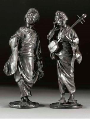 Two bronze models of bijin, 19