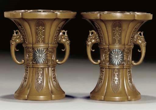A pair of Japanese bronze vase