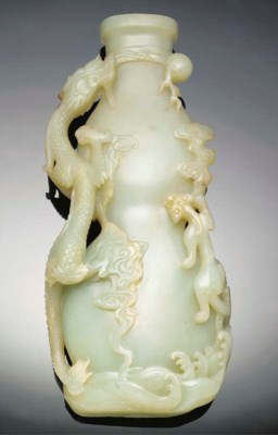A large celadon jade double go