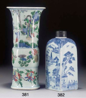 A wucai gu vase, Transitional
