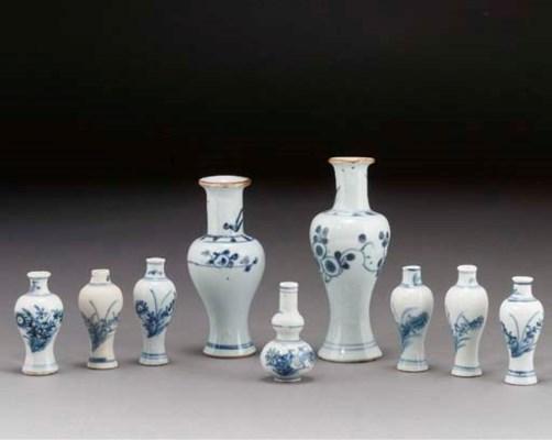 Nine various blue and white va