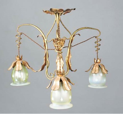 A Copper and Brass Chandelier