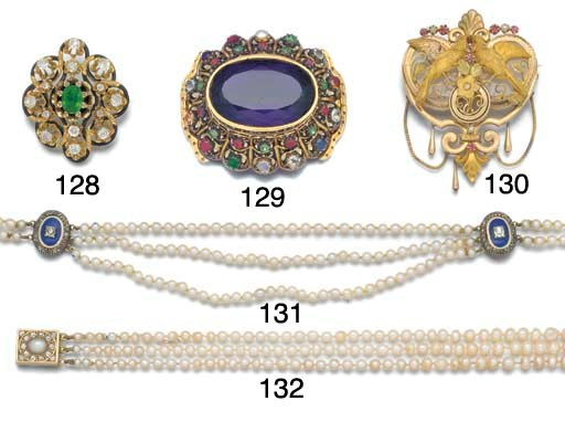 A pearl, diamond and enamel ne