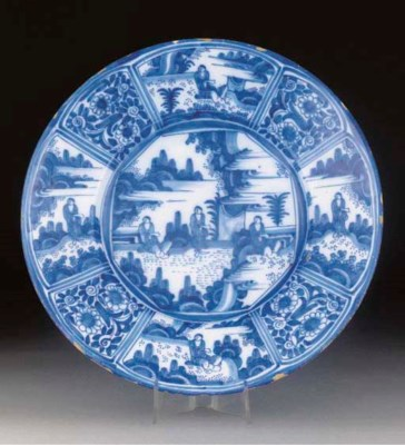 A blue and white faience dish