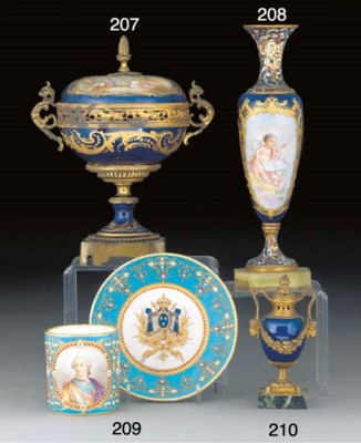 A Sevres-style 'jewelled' cup