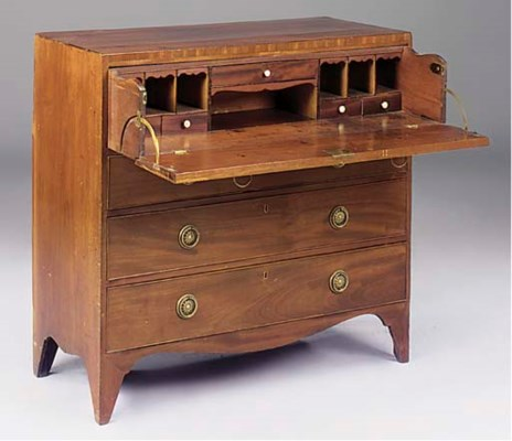 A MAHOGANY SECRETAIRE CHEST