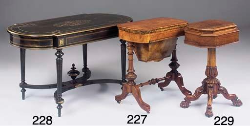 A Victorian walnut work table