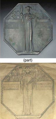 FOUR PATINATED BRONZE PLAQUES