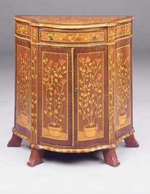 A MAHOGANY AND MARQUETRY CABIN
