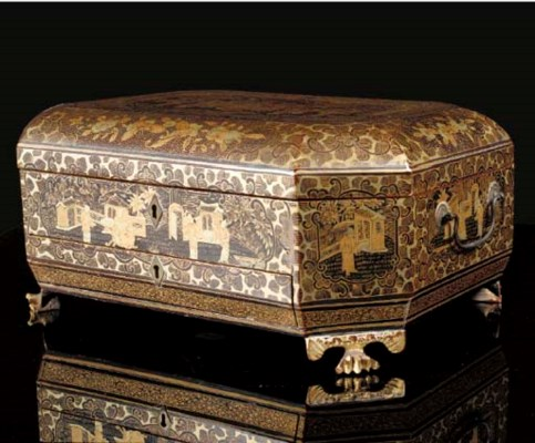 A wooden lacquer sewing box, d