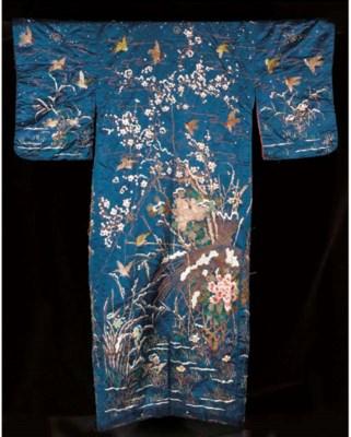 An embroidered kimono of dark