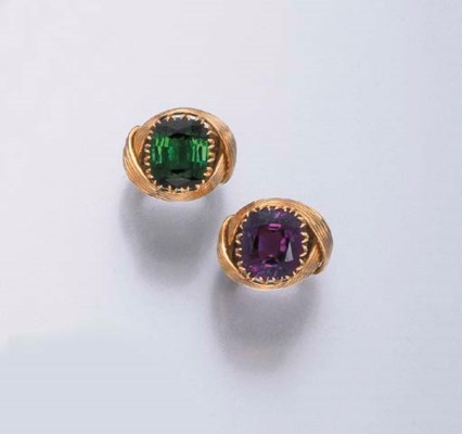A SET OF AMETHYST AND GREEN TO