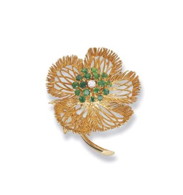 A GOLD AND GEM-SET FLORAL BROO