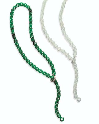 TWO SINGLE-STRAND JADEITE OR