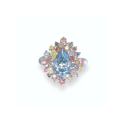 A FANCY VIVID BLUE DIAMOND AND