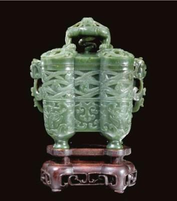 A spinach-green jade incense b