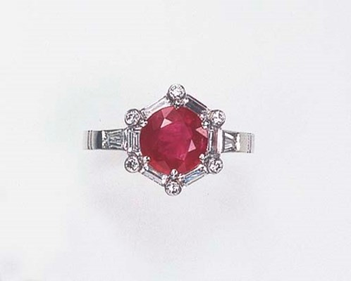 A RUBY, DIAMOND, PLATINUM AND