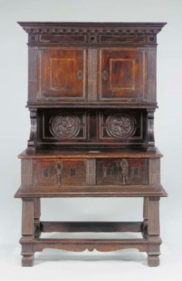 AN ITALIAN WALNUT WALL CABINET