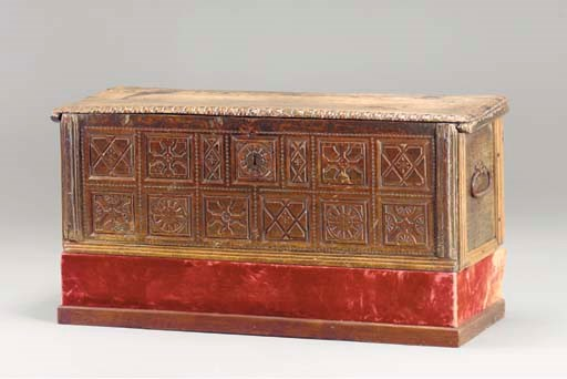 A SPANISH WALNUT COFFER,