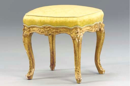 A LOUIS XV GILTWOOD TABOURET,