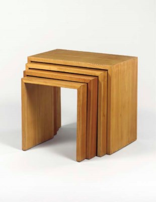 FOUR NESTING SYCAMORE TABLES
