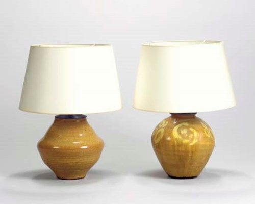TWO OCHRE-GLAZED CERAMIC LAMP