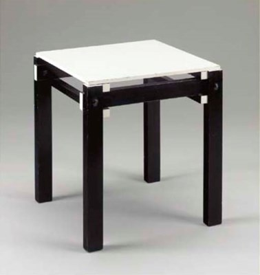A BLACK AND WHITE PAINTED WOOD