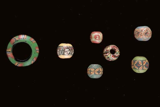 SIX ROMAN MOSAIC GLASS BEADS