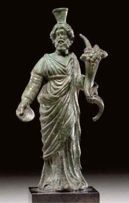 A ROMAN BRONZE FIGURE OF SERAP