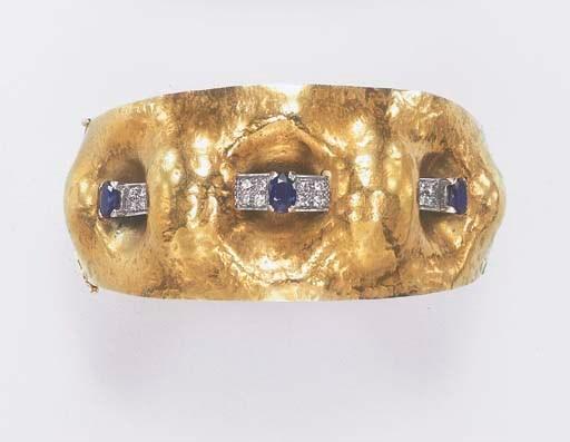 A SAPPHIRE, DIAMOND AND GOLD B
