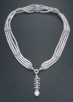 A DIAMOND AND CULTURED PEARL N