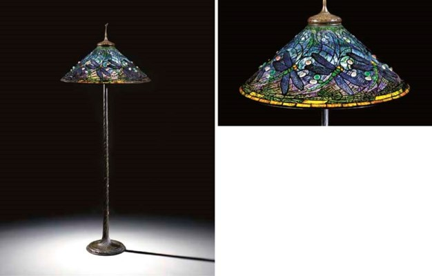 A 39 swirling dragonfly 39 leaded glass and bronze floor lamp for 1908 studios tiffany blue dragonfly floor lamp