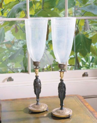 A PAIR OF REGENCY BRONZE AND G