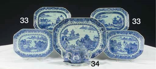 (5) Five chinese blue and whit