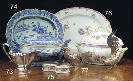 (2) A Chinese blue and white t