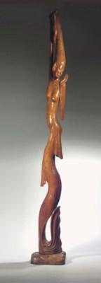a modern balinese wood figure