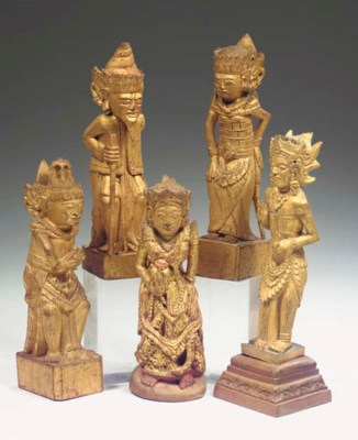 (5) five balinese gilt wood fi