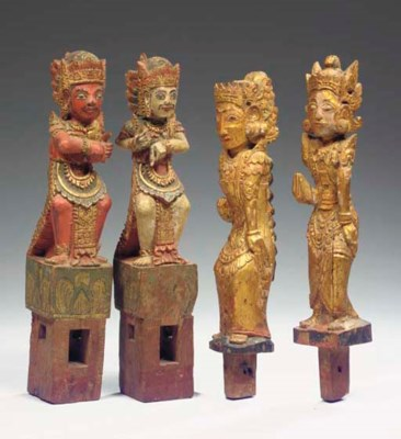 (4) four balinese polychromed