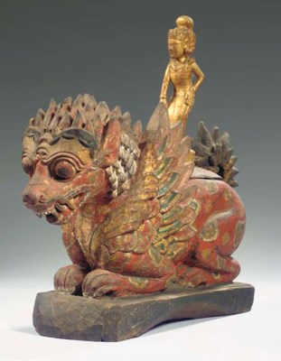 a balinese polychromed wood of