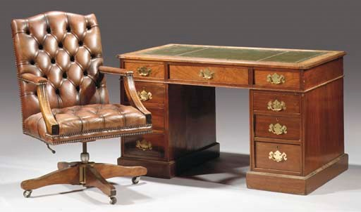 (2)  An English mahogany pedes